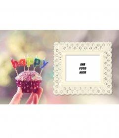 Geburtstagskarte mit einem kleinen Kuchen und bunten Buchstaben mit Ihrem Foto