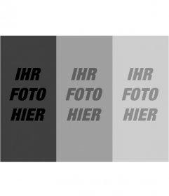 Montage von fotografischer Filter. ein Foto hochladen und mit dieser Vorlage erhalten Sie ein Komposit aus drei Aufnahmen in Graustufen Gradienten