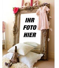 Fotomontage mit der Reflexion auf einem Spiegel in ein Mädchen-Zimmer
