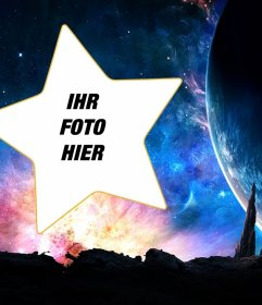 Galaxy Fotomontage, um das Foto in einen Stern gestellt