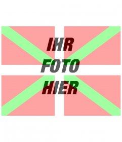 Montage von Fotos auf die Flagge des Baskenlandes mit Ihrem Foto Hintergrund zu stellen