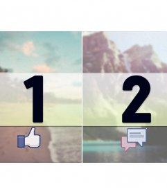 """Die Margen für Facebook-Fotoband mit """"like"""" und """"share"""""""