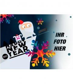 Fotomontage des Zeichnens, das neue Jahr zu gratulieren