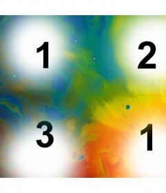 Collage mit Farbe, wo Sie vier Fotos hochladen und geben ihnen eine künstlerische Note vier Fotos