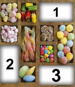 Collage für Süßigkeiten-Liebhaber drei Bilder hochladen