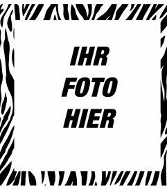 Editierbare Bilderrahmen mit Zebra-Design, um Ihre Bilder