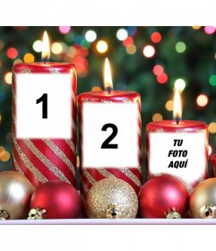 Weihnachtsfotoeffekt von Kerzen für drei Fotos