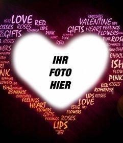 Fotoeffekt der Liebe mit Worten, um das Foto