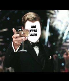 Fotomontage von Leonardo DiCaprio in einem Toast mit einem Glas Wein