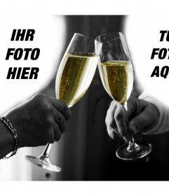 Foto-Collage von ein paar, die einen Toast zu 2 Fotos hochladen