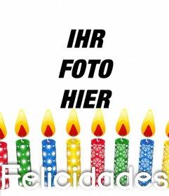Foto Effekt bunten Kerzen Geburtstag ein Bild hochladen