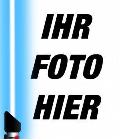 Fotoeffekt des blauen Lichtschwert aus Star Wars, um das Foto