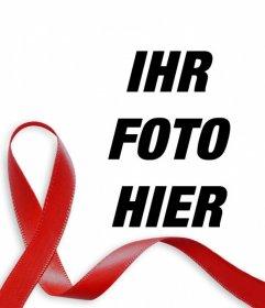 Rotes Band gegen AIDS, um Ihr Foto online einzufügen