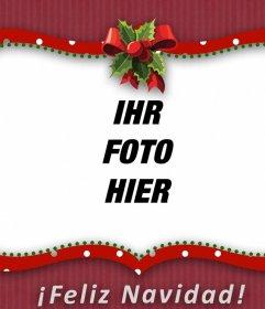 Red-Bilderrahmen von Weihnachten mit einem Bogen, um Ihr Foto setzen