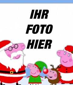 Fotoeffekt von Weihnachten mit der Peppa Pig Familie