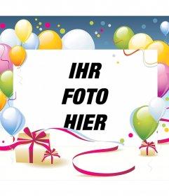 Photo-Effekt für Geburtstag mit Ballons und Geschenk-