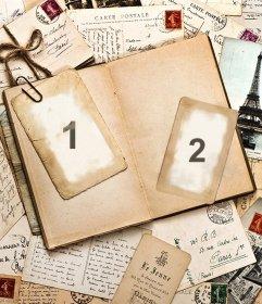 Weinlese-Foto-Effekt aus Buchstaben und ein Tagebuch für 2 Bilder. Fügen Sie zwei Fotos zu dieser Vintage-Foto-Effekt mit vielen Briefe und ein Tagebuch. Teilen Sie diese Collage mit Ihren Freunden