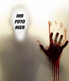 Foto-Montage Ihr Gesicht in einen blutigen Schatten zu stellen