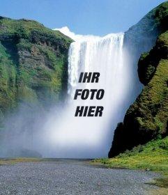 Fotomontagen mit Wasserfällen, wo Sie Ihr Foto online stellen können