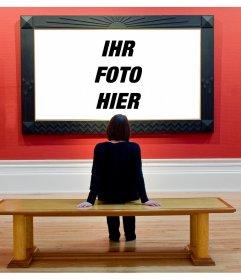 Fotomontage, um Ihr Bild in einem Kunstmuseum gebracht, in den Augen der Besucher