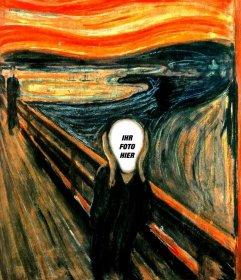 Fotomontage des Bildes Der Schrei von Munch das Foto Ihrer Wahl setzen