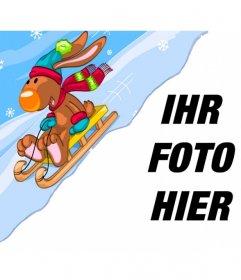 Kinderfotomontage mit einem Rentier auf einem Schneeschlitten