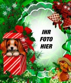 Weihnachtsfotomontage mit einem reizenden Welpen als Geschenk