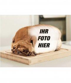 Hund geformt Brot mit dem Rücken zur Ihre Fotos setzen. Fotomontage