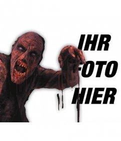 Fotomontage auf eine rote blutige Zombie in einem Foto und Text hinzufügen online