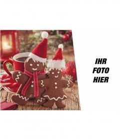 Weihnachtscollage, um Ihr Foto zusammen mit zwei Lebkuchenmänner setzen