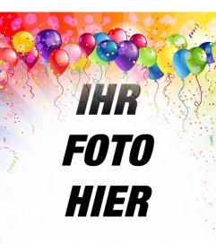 Festliche Fotomontage mit Luftballons und Farben Ihr Bild