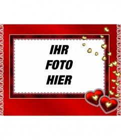 Photo Frame der Herzen aus Gold und rotem Hintergrund zu setzen ein Foto nach innen