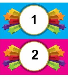 Frame-Fotos von Sternen für 2 Bilder, Hintergründe rosa und blau