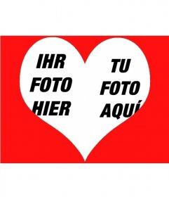 Fotoeffekt, um zwei Fotos in ein Herz zu legen