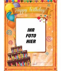 Geburtstagskarte mit orange Hintergrund und lustigen Zeichnungen auf Online angepasst werden