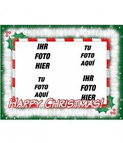 Weihnachtskarte mit Ihrem Lieblings-Fotos (4) liest HAPPY CHRISTMAS! machen!