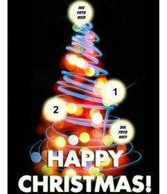 Foto-Effekt für 4 Fotos in der Sie Bilder in den Kugeln setzen. Und der Text Frohe Weihnachten