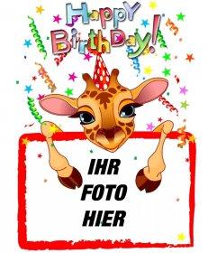 Anpassbare Grußkarte mit einer Giraffe Geburtstag