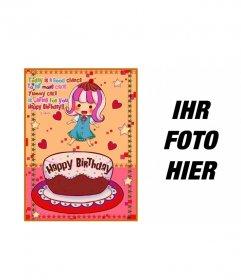 Geburtstagskarte für Kinder. Mit einem Bild von einem Mädchen mit einem Kuchen, Herzen und Sterne