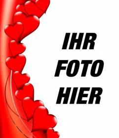 Kante zu Fotos in Form von roten Herzen, wo Sie Ihr Foto setzen können