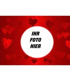 Roter Hintergrund mit Herzen in verschiedenen Schattierungen der gleichen Farbe in der Mitte gedruckt, von denen ist ein Kreis, in dem Gestell Ihr Lieblingsfoto