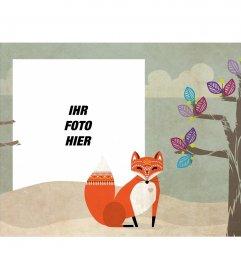 Fotorahmen mit einem Bild von einem Baum und einem Fuchs