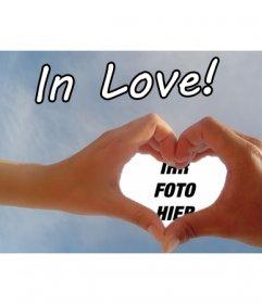 Erstellen Sie Ihre Valentine, Valentinstag, mit Ihrem Foto oder nur ein Hauch von Liebe personalisierte, um ein Foto mit zwei Händen machen ein Herz wie ein Rahmen