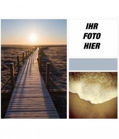 Collage mit Sonnenaufgang, Sandstrand und ruhigen Wellen mit einem Indie-Touch