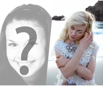 Fotomontage mit Kirsten Dunst in weiß gekleidet