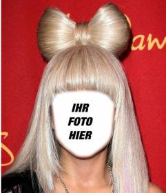 Dress up wie Lady Gaga mit ihrem blonden Haar mit diesem Fotomontage