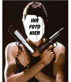 Setzen Sie Ihr Gesicht auf den Charakter von Angelina Jolie als Lara Croft