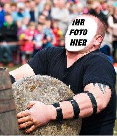 Foto-Montage einer starken Mann mit Basken tut Steinheben