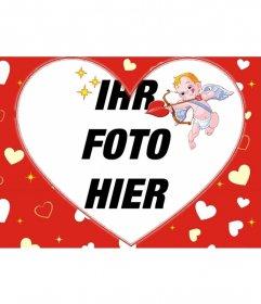 Bilderrahmen für ein Foto in Herzform und roten Hintergrund der Herzen und Amor