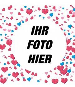 Rahmen Sie Ihr Foto mit vielen Herzen dekoriert